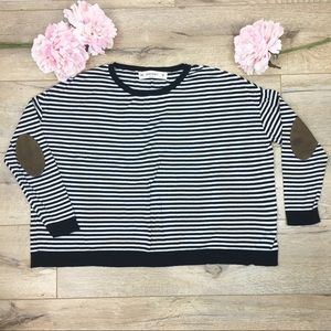 Zara Loose Fit Black / White Stripe Sweater Top M